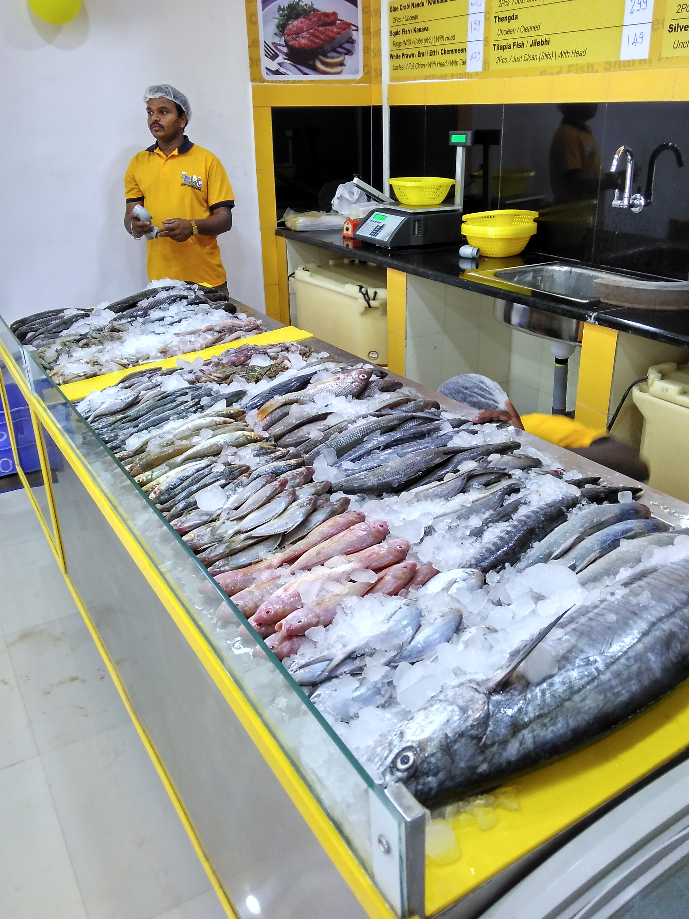 Fish counter at kadugodi outlet chef butcher the for Sea city fish and chicken